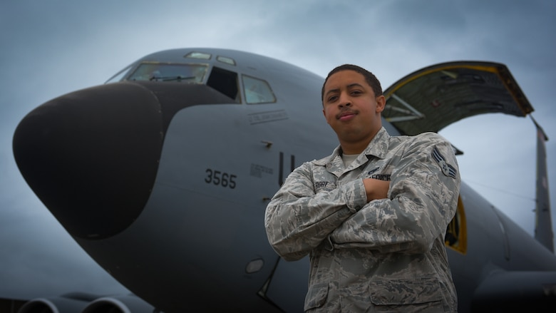 Senior Airman Brandon Roby, crew chief assigned to the 718th Aircraft Maintenance Squadron, poses for a photo on Kadena Air Base, June 24, 2019.
