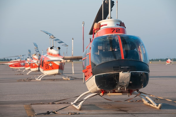 TH-57 Sea Ranger helicopters assigned to Training Air Wing (TW) 5 sit on the flightline at Naval Air Station Whiting Field in Milton, Fla.