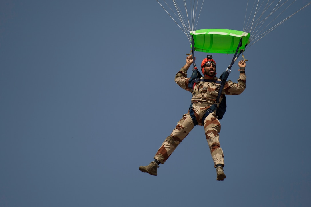 The 82nd Expeditionary Rescue Squadron performed free fall jumps alongside the French to commemorate the 75th Anniversary of D-Day. The U.S. and French forces perform these exercises together to increase partner capacity and strengthen interoperability. (U.S. Air Force photo by Staff Sgt. Devin Boyer)
