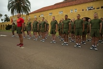 The new Marines of Charlie Company,1st Recruit Training Battalion, conduct a motivational run at Marine Corps Recruit Depot San Diego, June 20