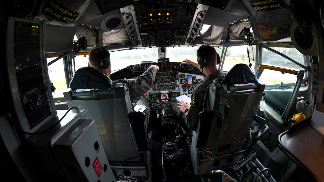 U.S. Air Force Capt. Brendan Keiper and Maj. Patrick Hanson 351st Air Refueling Squadron pilot, review a pre-flight checklist during Exercise Baltic Operations, at RAF Mildenhall, England, June 19, 2019. The BALTOPS Exercise is designed to improve training value for participants, enhance flexibility and interoperability, and demonstrate resolve among allied and partner forces in defending the Baltic Sea region. (U.S. Air Force photo by Senior Airman Alexandria Lee)