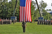 U.S. Marines with 8th Engineer Support Battalion celebrate the change of command on Camp Lejeune, North Carolina, June 19, 2019. During the ceremony Lt. Col. Patrick G. Manson relquished command to Lt. Col. Robert Gerbracht