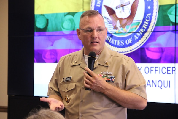 NSWC Crane hosted Master Chief Petty Officer Dwayne D. Beebe-Franqui on June 25 as the guest speaker at the Lesbian, Bisexual, Transgender, Queer, plus Allies (LGBTQ+A) Pride Month Luncheon. Beebe-Franqui spoke about his experience in the military while serving in the Navy under the Don't Ask, Don't Tell (DADT) policy, which allowed LGBTQ Americans to serve in the armed forces – as long as they hid their orientation or identity from everyone.