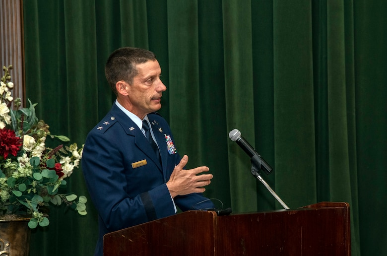 Maj. Gen. Robert Skinner, 24th Air Force commander, addresses attendees during the 688th Cyberspace Wing change of command ceremony at Joint Base San Antonio-Lackland, Texas, on June 25, 2019. Col. Steven Anderson took command of the 688th CW during the ceremony. (U.S. Air Force photo by Johnny Saldivar)