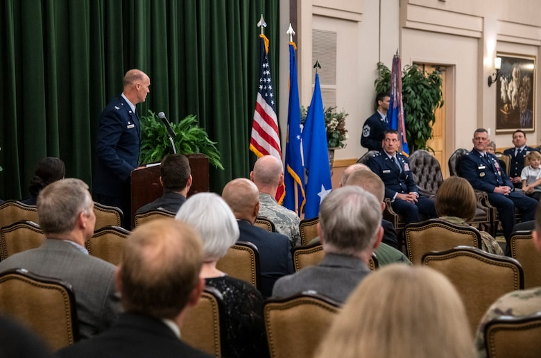 Col. Steven Anderson speaks to attendees after accepting command of the 688th Cyberspace Wing during the wing's change of command ceremony at Joint Base San Antonio-Lackland, Texas, on June 25, 2019. Col. Eric DeLange relinquished command of the 688th CW during the ceremony. (U.S. Air Force photo by Johnny Saldivar)