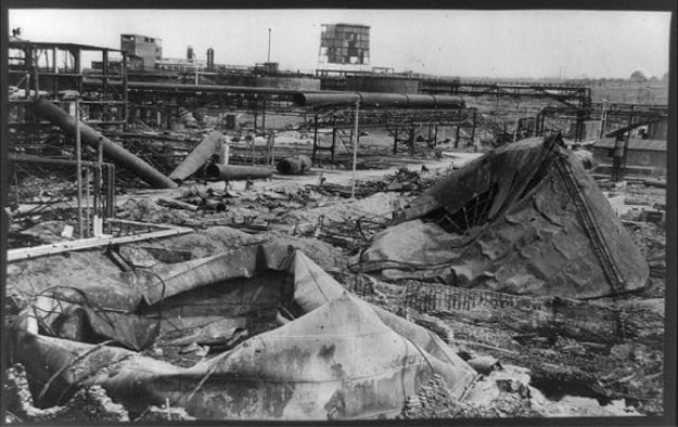 Synthetic oil production plant at Zeitz, Germany, destroyed by an American bombing attack in 1944.