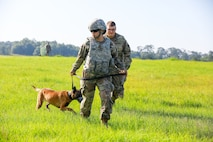 Pfc. Samantha Roden, 905th Military Working Dog Detachment at Fort Knox, Kentucky, leads Tina during helicopter familiarization training. Fifteen military working dog teams from across the U.S. Army and the Connecticut Army National Guard performed training June 17, 2019, at Fort Benning here in preparation of deployment. Military working dog teams are used in garrison and combat support missions, including area security, movement and mobility support operations; law and order; and force protection, including narcotic, human, landmine, firearm, ammunition and explosive detection.