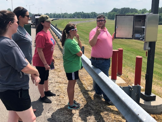 Bill Walker, U.S. Army Corps of Engineers Nashville District civil engineer, shows Sumner County teachers some equipment the Corps uses to monitor the dam embankment at Old Hickory Dam during a teacher externship opportunity June 5, 2019. (Courtesy photo)