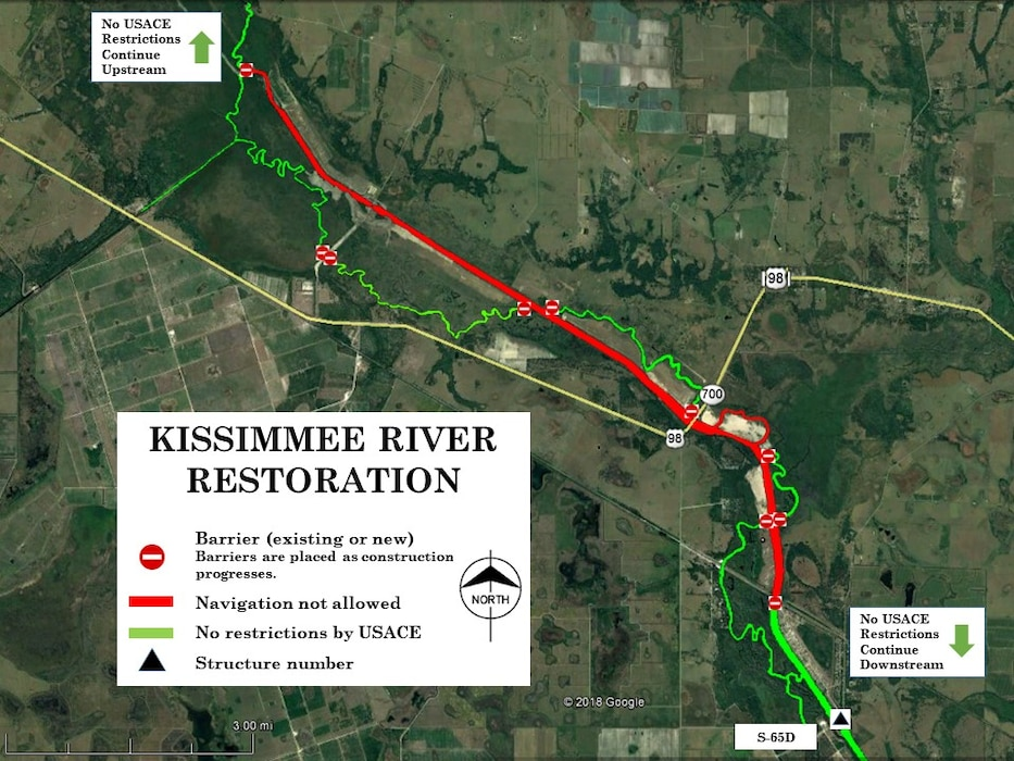 The Jacksonville District is notifying Kissimmee River boaters of navigational restrictions along approximately ten miles of the river in the lower river basin.  Restrictions occur from U.S. Highway 98 to approximately 7 miles upstream and 3 miles downstream of U.S. Highway 98.