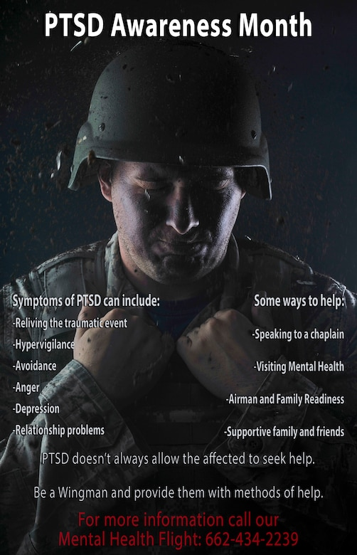 Columbus Air Force Base, Mississippi, also has numerous ways to get help for PTSD and other mental health issues. From the 14th Flying Training Wing chaplains to the Mental Health Flight's Behavior Health Optimization Program and counseling sessions, any Airmen can find the help they need to get back to '100%.' (U.S. Air Force graphic by Senior Airman Keith Holcomb)