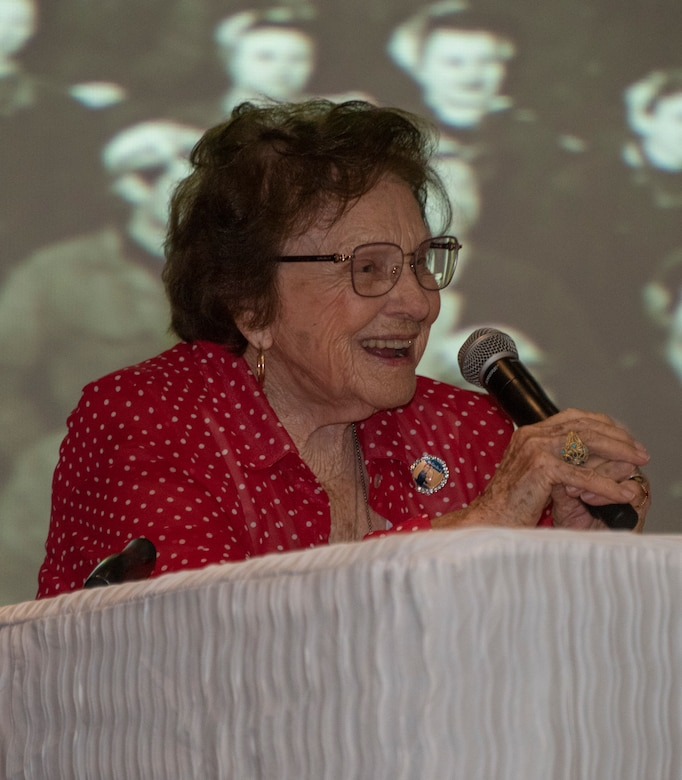 Agnes Moore, 99, journeyman welder from 1942-1945, delivers remarks during a base visit June 25, 2019, at Travis Air Force Base, California. Wynn, one of the original Rosie the Riveters, was at Travis AFB to share experiences with female maintainers assigned to the 60th Maintenance Group. Used in movies, newspapers, posters, photographs and articles, the Rosie the Riveter campaign stressed the patriotic need for women to enter the workforce during World War II. Though women filled many positions during the war, the aviation industry saw the greatest increase in female workers. (U.S. Air Force photo by Heide Couch)