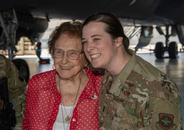 U.S. Air Force 1st Lt. Krista Kelly, right, 860th Aircraft Maintenance Squadron aircraft maintenance unit assistant officer in charge, poses for a photo with Agnes Moore, journeyman welder from 1942-1945, a member of the original Rosie the Riveters June 25, 2019, at Travis Air Force Base, California. The Rosies were at Travis AFB to share experiences with female maintainers assigned to the 60th Maintenance Group. Used in movies, newspapers, posters, photographs and articles, the Rosie the Riveter campaign stressed the patriotic need for women to enter the workforce during World War II. Though women filled many positions during the war, the aviation industry saw the greatest increase in female workers. (U.S. Air Force photo by Heide Couch)