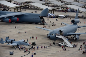 U.S. Air Force C-5 Galaxy, KC-10 Extender and A-10 Thunderbolt II aircraft static displays stand on the flightline at Whiteman Air Force Base, Mo.,  June 16, 2019.  Various military and civilian aircraft were on display to the public during the two-day Wings O ver Whiteman Air and Space Airshow.