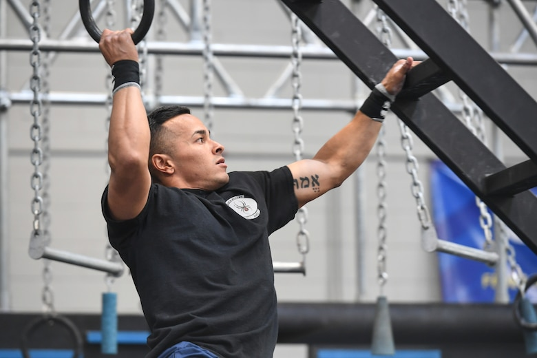Airman 1st Class Bryan Lira Ayala competes in the Alpha Warrior Western Regional Competition June 21, 2019, at Hill Air Force Base, Utah. Lira Ayala won the competition with the fastest time and will move on to the super regionals at Nellis Air Force Base, Nevada, July 26. (U.S. Air Force photo by Cynthia Griggs)