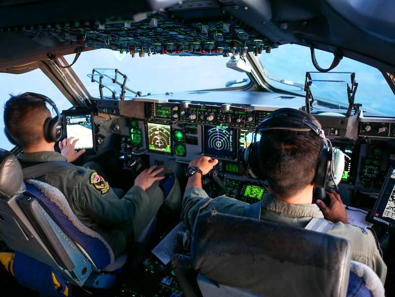 Hawaii Air National Guard pilots assigned to the 204th Airlift Squadron, fly a C-17 Globemaster III toward Ramstein Air Base, Germany, June 14 ,2019.