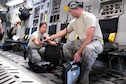 Staff Sgt. Michelle Ganoy, 154th Maintenance Squadron crew chief, and Master Sgt. Rodd Maeyoshimoto, 154 Aircraft Maintenance Squadron integrated instrument and flight control lead technician, prep a C-17 Globemaster III for flight June 17, 2019, at Ramstein Air Base, Germany.