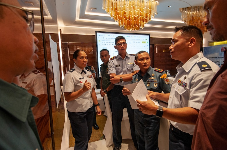 Medical experts from the Hawaii Air National Guard, Tentara Nasional Indonesia, and Hawaii Civil agencies brainstorm pandemic response strategies during a Pandemic Subject Matter Expert Exchange between the HIANG and Indonesian Armed Forces held Jun. 18 , 2019 in Jakarta, Indonesia.