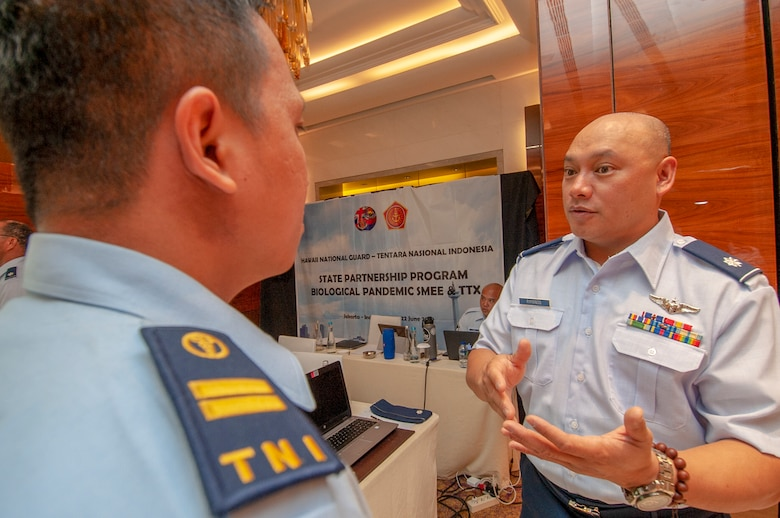 Lt. Col. Marlon Rimando, 154th Medical Group Detachment 1 physician and force health protection team chief discusses the importance of force health protection with a member of the Indonesian Armed Forces during a Pandemic Subject Matter Expert Exchange held in Jakarta, Indonesia on Jun 19, 2019.
