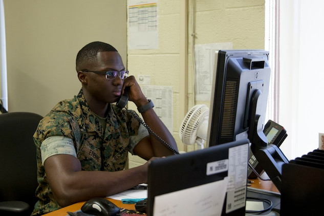 U.S. Marines with Headquarters and Headquarters Squadron (H&HS), S-1, conduct daily operations at Marine Corps Air Station Yuma Ariz., June 24, 2019. The mission of S-1 is to provide the Marines of H&HS with the highest quality and timely administrative support in the Marine Corps. (U.S. Marine Corps photo by Cpl. Sabrina Candiaflores)