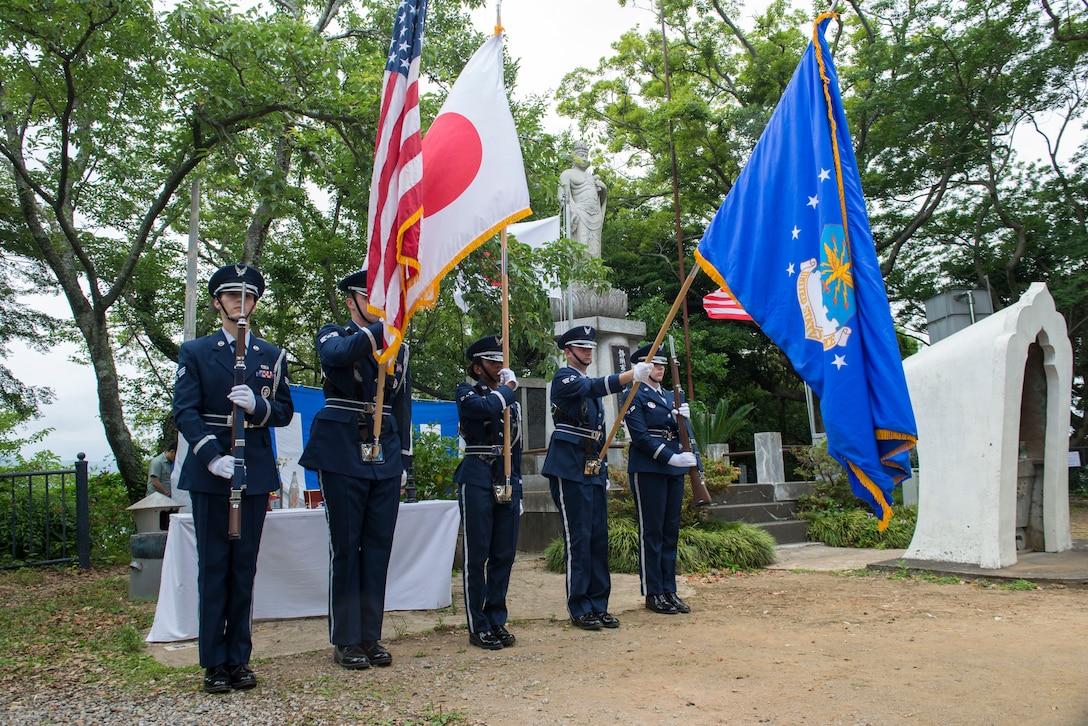 Yokota Air Base, Japan, Honor Guardsmen present the colors during the 47th annual B-29 Memorial Ceremony, at Sengen Shrine in Shizuoka City, Japan, June 22, 2019.