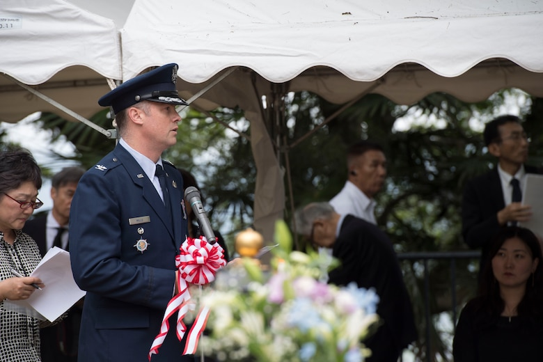 Col. Jason Mills, 374th Airlift Wing vice commander, speaks during the ceremony at Sengen Shrine in Shizuoka City, Japan, June 22, 2019.