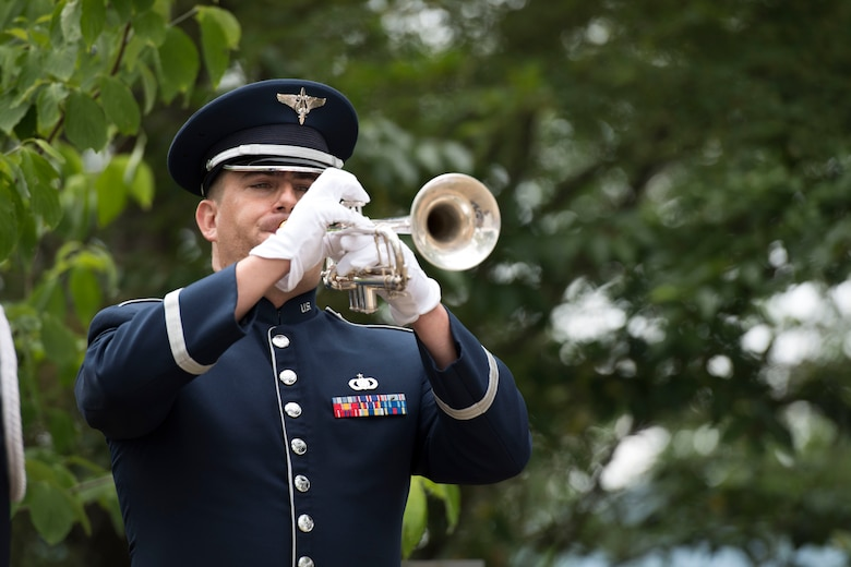 Staff Sgt. David Wuchter, U.S. Air Force Band of the Pacific trumpeter, renders 'Taps' during the 47th annual B-29 Memorial Ceremony at Sengen Shrine in Shizuoka City, Japan, June 22, 2019.