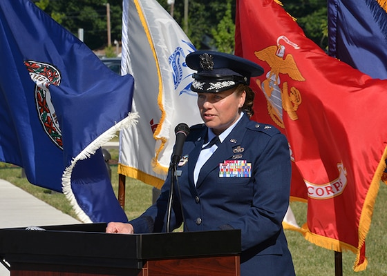 Brig. Gen. Hurry gives remarks at ribbon cutting ceremony