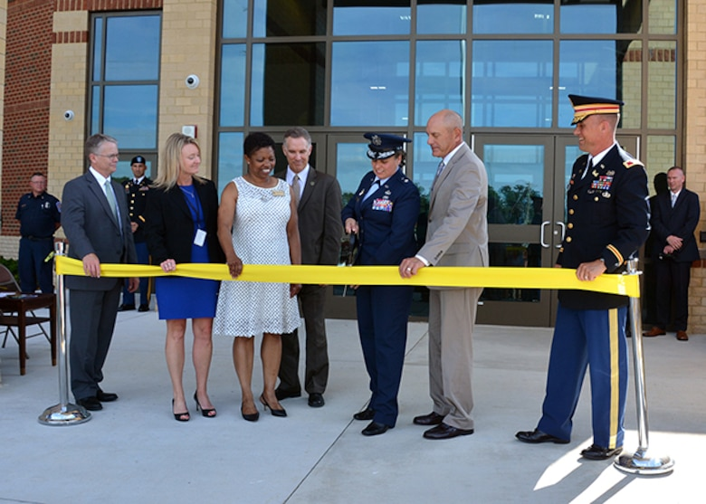 Leaders prepare to cut ribbon opening DLA Aviation Operations Center