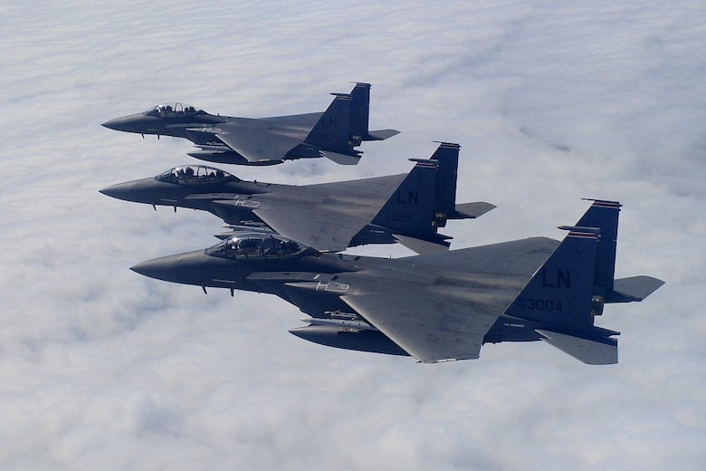 F-15E Strike Eagles assigned to the 494th Fighter Squadron conduct aerial training.