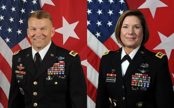 Lt. Gen. Jeffrey S. Buchanan (left), who has commanded U.S. Army North for the last three years, will relinquish command to Lt. Gen Laura J. Richardson (right).