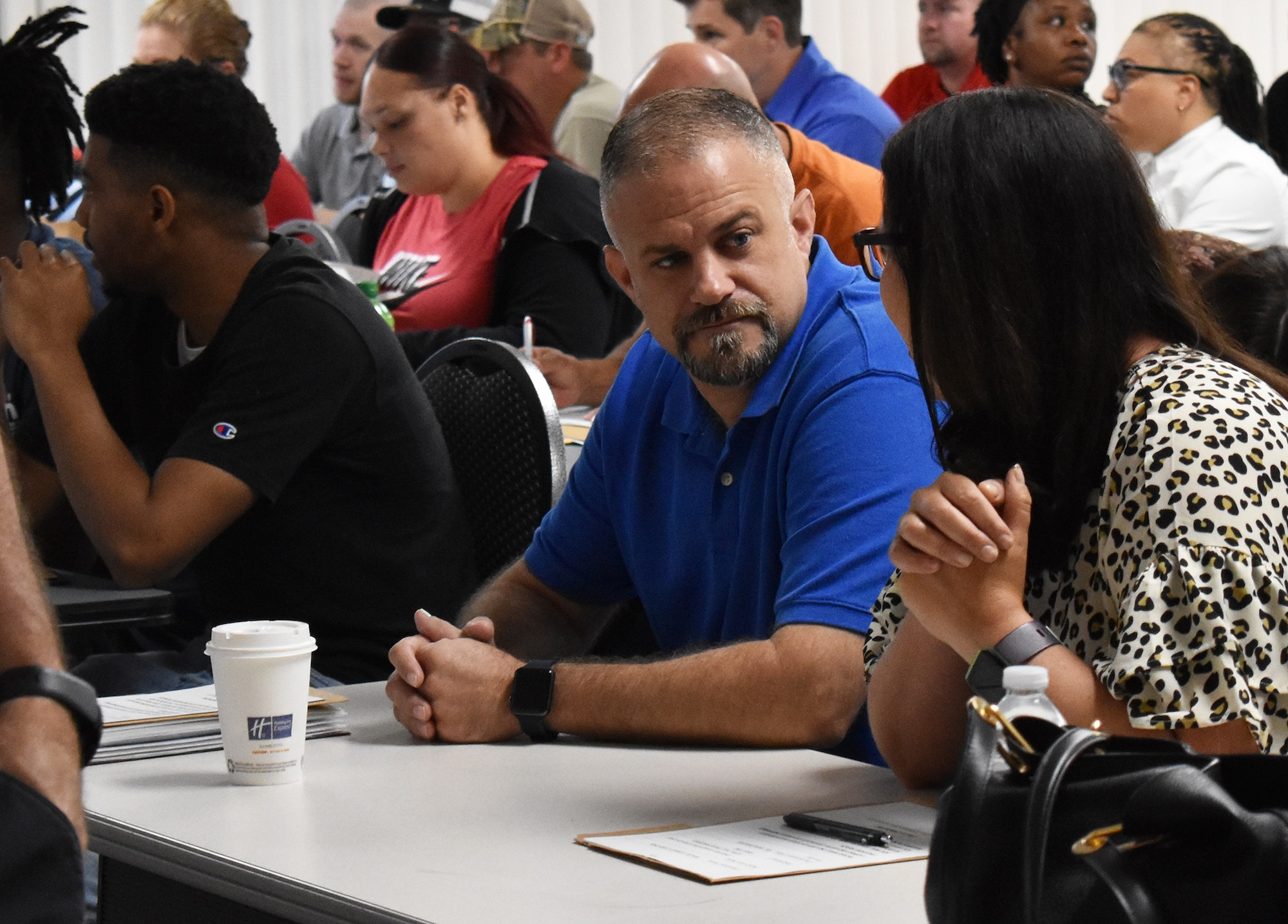 Andrea Tosolini, the Warner Robins Air Logistics Complex's 1,200th hire of its '1200 in 12' hiring initiative was sworn in June 24, 2019. The Florida native and 21-year Air Force veteran said getting the job was like winning the lottery. The Warner Robins Air Logistics Complex announced its initiative during a press conference Aug. 15, 2018. The task at hand was to hire 1,200 new workers within 12 months, or by the end of fiscal 2019. At the time 7,200 personnel worked for the complex, providing maintenance and repair for several aircraft and components, as well as F-15 engineering. (U.S. Air Force photo by Ed Aspera)
