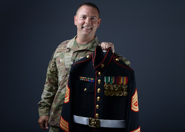 1st Lt. Ryan Allen, 56th Mission Support Group executive officer, poses with his Marine Corps dress blue uniform June 25, 2019, at Luke Air Force Base, Ariz.