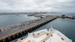 USNS Comfort (T-AH 20) pulls into port.