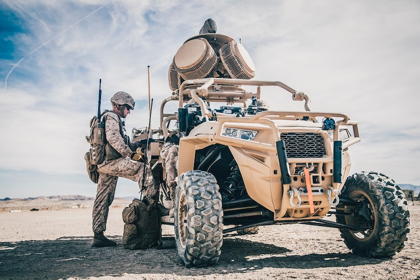 A Marine conducts pre-deployment training and evaluation. Additionally, Marines are evaluating the Compact Laser Weapons System, the first ground-based laser approved by the Department of Defense for use by warfighters, as another potential C-UAS defeat capability. (U.S. Marine Corps photo by Lance Cpl. Dalton S. Swanbeck)