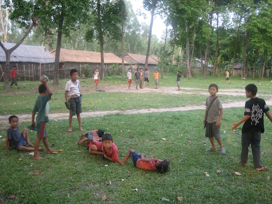 IMAGE: Children playing in open grouds inside camp.