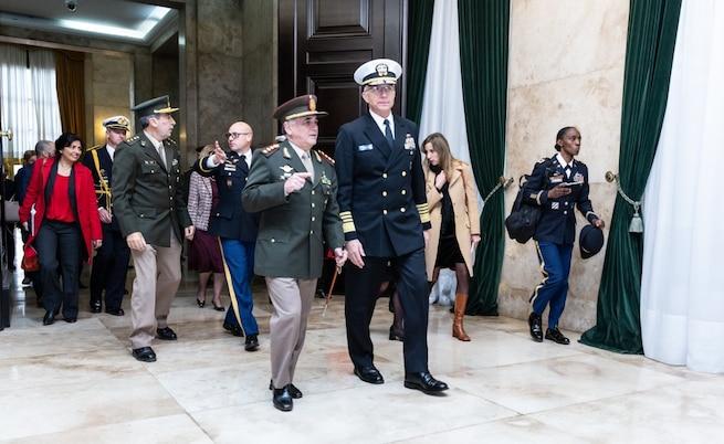 Navy Adm. Craig Faller, meets with Argentine Chief of Defense Gen. Bari Del Valle Sosa