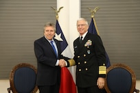 Navy Adm. Craig Faller, meets with Chilean Minister of Defense Alberto Espina in Chile.