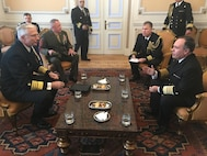 Navy Adm. Craig Faller, meets with Vice Adm. Marcelo Gomez Garcia, commander, Chilean Navy Operations.