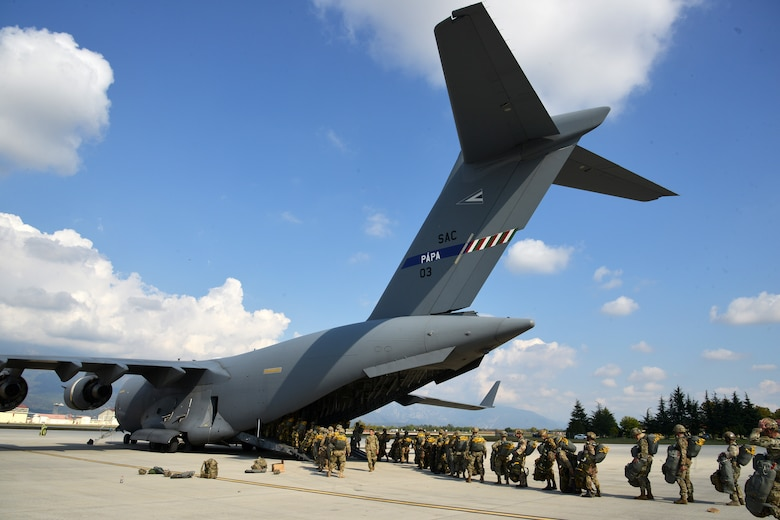 (Archive Photo) U.S. Army Paratroopers assigned to 2nd Battalion, 503rd Infantry Regiment, 173rd Airborne Brigade, along with paratroopers from the Italian Army Folgore Brigade, board a C17 Globemaster III Aircraft from Papa Air Base, Hungary at Aviano Air Base, in Pordenone, Italy Oct. 10, 2017 in preparation for airborne operations onto Hohenburg Drop Zone, Germany during Exercise Swift Response 2017. Swift Response links to Exercise Saber Guardian 17, a U.S. Army Europe-led, multinational exercise that spans across Bulgaria, Hungary, and Romania with more than 25,000 service members from 22 allied and partner nations. (U.S. Army Photos by Visual Information Specialist Paolo Bovo/Released)