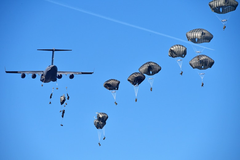 (Archive Photo) U.S. Army Paratroopers assigned to 1st Battalion, 503rd Infantry Regiment, 173rd Airborne Brigade, conduct an airborne operation from C17 Globemaster III Aircraft from Papa Air Base, Hungary, during exercise Eagle Sokol at Cerklje Drop Zone in Slovenia, Mar. 22, 2019. Exercise Eagle Sokol is a bilateral training exercise with the Slovenian Armed Forces focused on the rapid deployment and assembly of forces and team cohesion with weapon systems tactics and procedures. Exercises such as this build a foundation of teamwork and readiness between allied NATO countries. The 173rd Airborne Brigade is the U.S. Army Contingency Response Force in Europe, capable of projecting ready forces anywhere in the U.S. European, Africa or Central Commands' areas of responsibility. (U.S. Army Photos by Paolo Bovo)