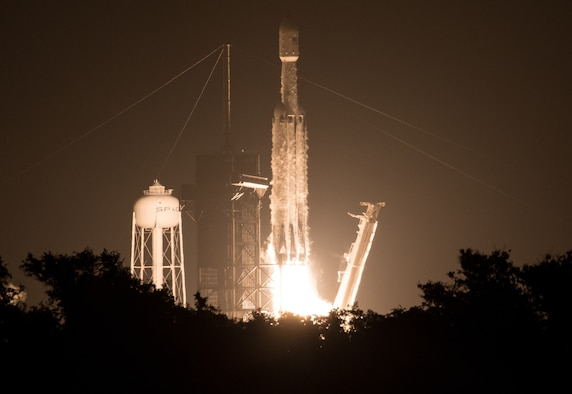 A SpaceX Falcon Heavy rocket carrying 24 satellites as part of the Department of Defense's Space Test Program-2 (STP-2) mission launches from Launch Complex 39A at NASA's Kennedy Space Center in Florida June 25, 2019. The satellites include two AFRL technology and science payloads. (NASA photo/Joel Kowsky)