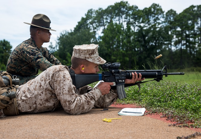 Recruits with Bravo Company, 1st Recruit Training Battalion, and Papa Company, 4th Recruit Training Battalion, pre-qualify for the rifle range on Parris Island, S.C., June 26, 2019. For one week, recruits learn and practice the fundamentals of marksmanship before moving on to shooting live ammunition during range week. (U.S. Marine Corps Photo by Lance Cpl. Christopher McMurry)