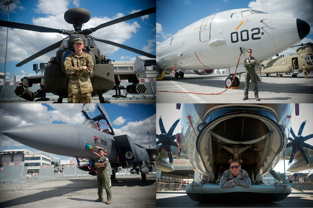 "U.S. service members from the U.S. Navy, U.S. Army, U.S. Air Force, and U.S. Air National Guard pose with aircraft from their respective units at the Paris Air Show, which was held June 17-23, 2019. Clockwise, from top left, U.S. Army 1st Lt. Ryan Johnson, Bravo Troop, 1st Squadron, 6th Cavalry Regiment, 1st Combat Aviation Brigade, 1st Infantry Division, stationed at Fort Riley, Kan., U.S. Navy Lt. Adam Anderson, a mission commander from Patrol Squadron 9, Combat Aircrew 3, Naval Air Station Whidbey Island, Wash., U.S. Air National Guard Staff Sgt. Jennatte Berger, an avionics technician from the 109th Airlift Wing at Stratton Air National Guard Base in Scotia, N.Y., and U.S. Air Force 1st Lt. Brandon ""Animal"" Shelley, a 492nd Fighter Squadron weapon systems officer from the 48th Fighter Wing at Royal Air Force Lakenheath, England, were each participating in an international air show for the first time. (U.S. Air Force photos by Master Sgt. Eric Burks)"