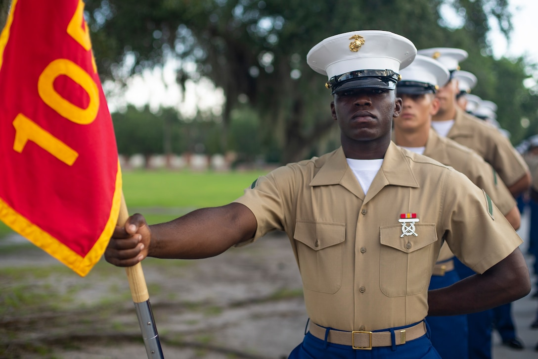 Private First Class Nathan A. Thomas completed Marine Corps recruit training as the company honor graduate of Company A, 1st Recruit Training Battalion, Recruit Training Regiment, aboard Marine Corps Recruit Depot Parris Island, South Carolina, June 28, 2019. Thomas was recruited by Staff Sergeant Joane Gray from Recruiting Substation Fort Lauderdale. (U.S. Marine Corps photo by Cpl. Erin R. Ramsay)