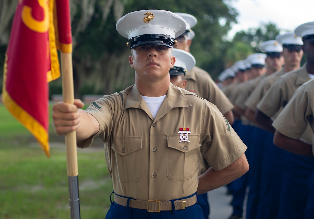 Private First Class Jeff R. Noel completed Marine Corps recruit training as a platoon honor graduate of Platoon 1052, Company A, 1st Recruit Training Battalion, Recruit Training Regiment, aboard Marine Corps Recruit Depot Parris Island, South Carolina, June 28, 2019. Noel was recruited by Staff Sergeant Tyreek Ayler from Recruiting Substation Orlando. (U.S. Marine Corps photo by Cpl. Erin R. Ramsay)