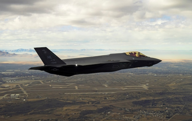 An F-35 Lightning II flies over Northern Utah