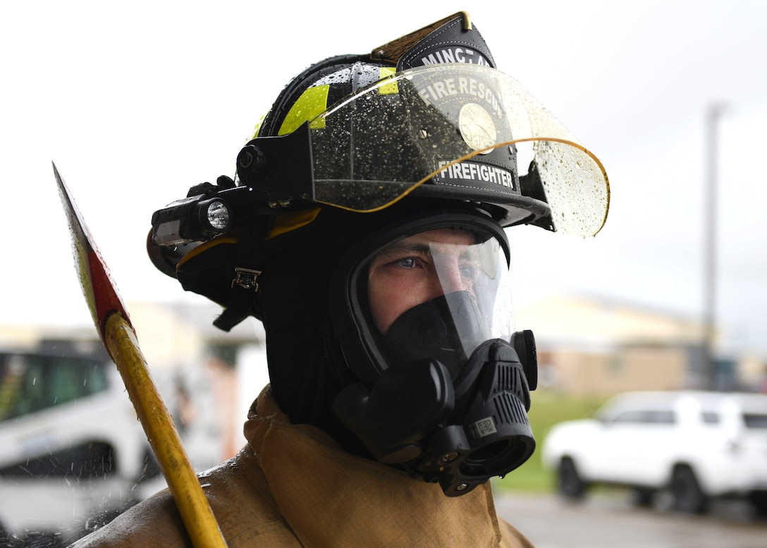 A 5th Civil Engineer Squadron firefighter