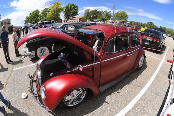 A custom Volkswagen beetle displayed at a car show and barbecue hosted by the base's Foreign Military Sales organization at Hill Air Force Base, Utah, June 27, 2019. The event was a first for the unit, and several program teams and employees displayed and shared details with visitors about their vehicles. (U.S. Air Force photo by Todd Cromar)