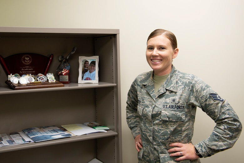 U.S. Air Force Staff Sgt. Kayla Betts, 81st Aerospace Medicine Squadron mental health technician, poses for a photo at the Keesler Medical Center on Keesler Air Force Base, Mississippi, June 27, 2019. Betts uses her experiences as a member of the LGBT community in addition to her mental health training to assist her patients. (U.S. Air Force photo by Airman 1st Class Kimberly L. Mueller)