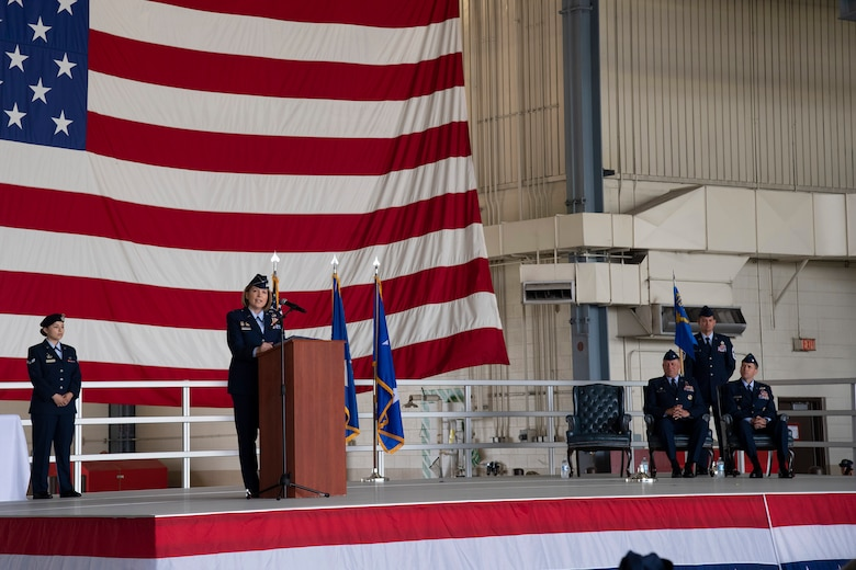 Maj. Gen. Mary O'Brien, 25th Air Force commander, offers remarks to the crowd during a change of command ceremony June 28, 2019, on Grand Forks Air Force Base, North Dakota.